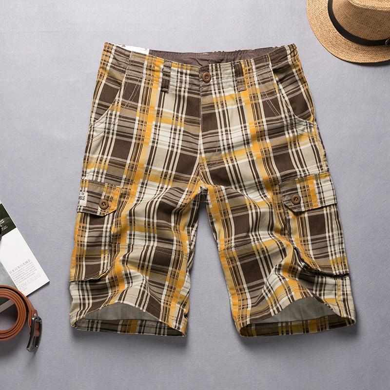 2018 Summer 100% Cotton Plaid Casual Shorts Men High Quality Cargo Men Shorts Beach Male Shorts High quality Size 36 38