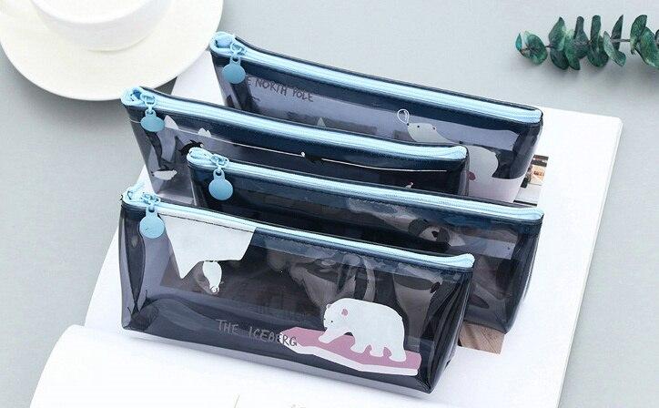 Lindo Oso Polar pingüino translúcido pvc lápiz caja artículos de papelería impermeables bolsa organizadora para almacenamiento escuela Oficina suministro Escolar