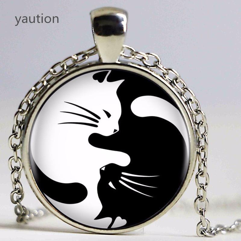 ¡Caliente! COLLAR COLGANTE Vintage de dos gatos Yin Yang Kolye Cabochon collar de declaración de cadena larga para mujeres y hombres a la moda