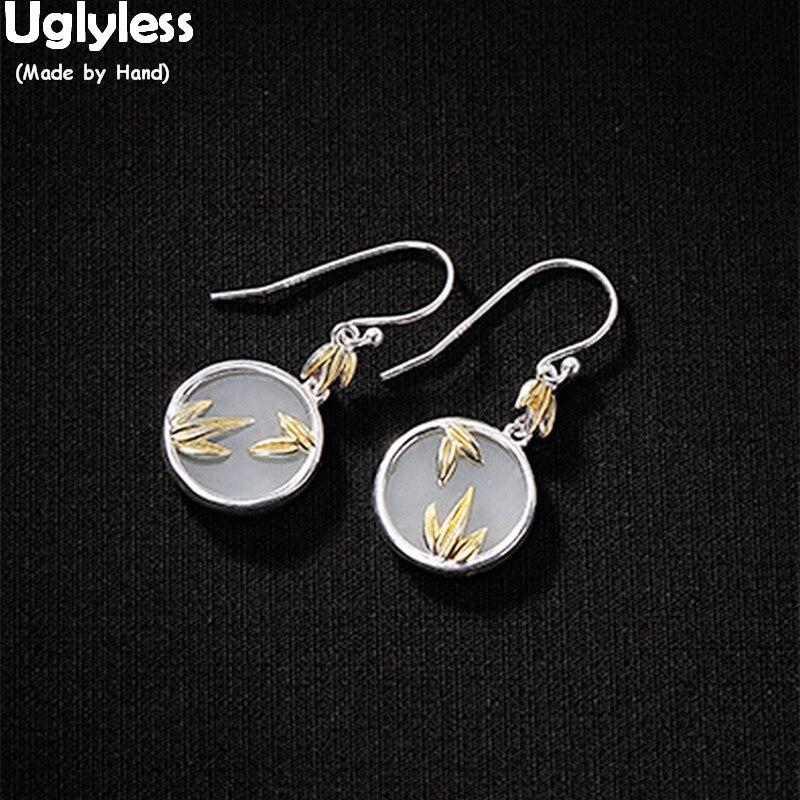 Uglyless pendientes de bambú favoritos de Panda para las mujeres pendientes redondos de Jade Natural 100% joyería fina de plata 925 sólida hojas de oro