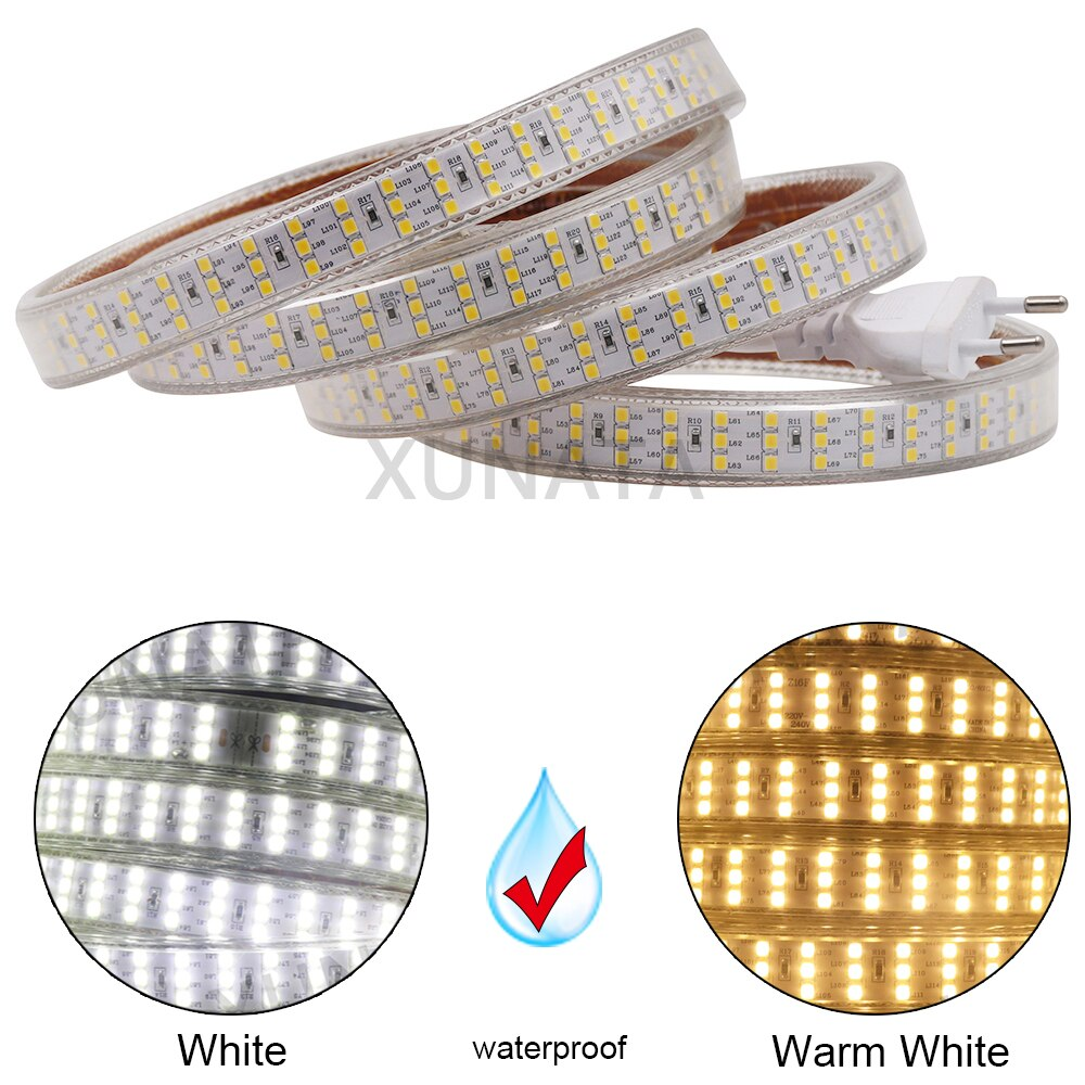 Three Row 220V SMD2835 LED Strip 276Leds/m IP67 Waterproof Led Strip Rope Light Super bright Flexible Led Ribbon Tape EU Plug