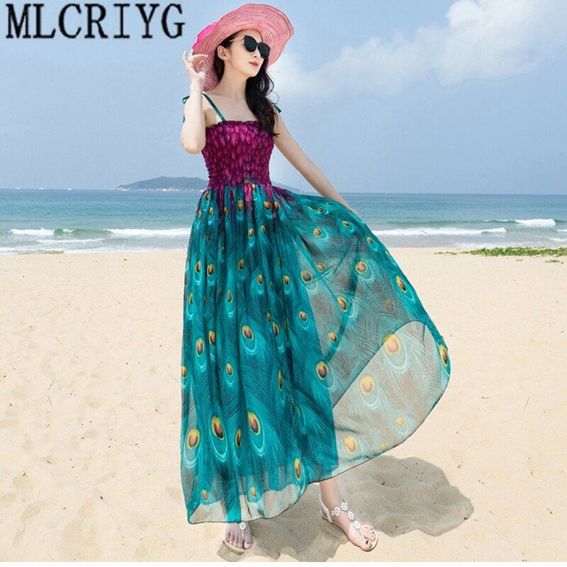 Mujer verano playa Boho Maxi vestido 2019 Tops Casual dibujo de pavo real Vintage gasa vestidos largos de fiesta vestido de verano femenino LX110