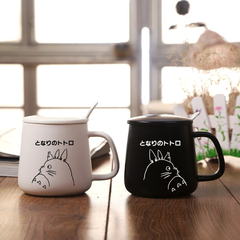 Totoro, tema de dibujos animados de alta calidad, Color puro, sensación de taza con tapa de cerámica y cuchara, taza de leche de 530ml, taza para desayuno para niños