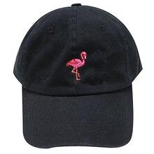 새로운 패션 Unisex Snapback Sun Hat Flamingoe 자수 코튼 야구 모자 여성 남성 솔리드 컬러 아빠 모자 Casquette Homme