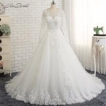 vestido casamento civil 2018 Modest Long Sleeve High Neck Wedding Dresses A-line Style Corset Back Lace Bride Dress