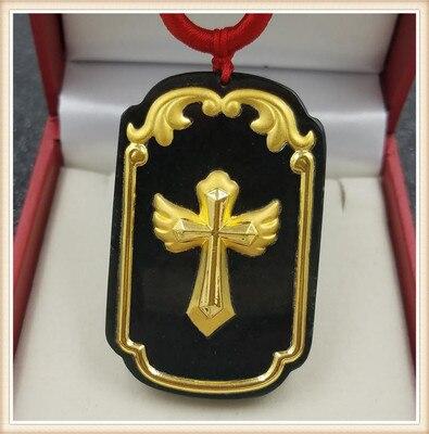 Collar con colgante de Cruz de Oro de jade hetiano Natural, colgante de jade de tinta para hombres y mujeres, regalos de joyería