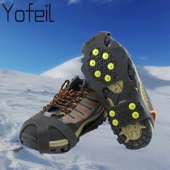 Chaussures d'escalade antidérapantes en plastique, 10 goujons, neige, glace, Thermo, élastomère, couvre-chaussures, Crampons