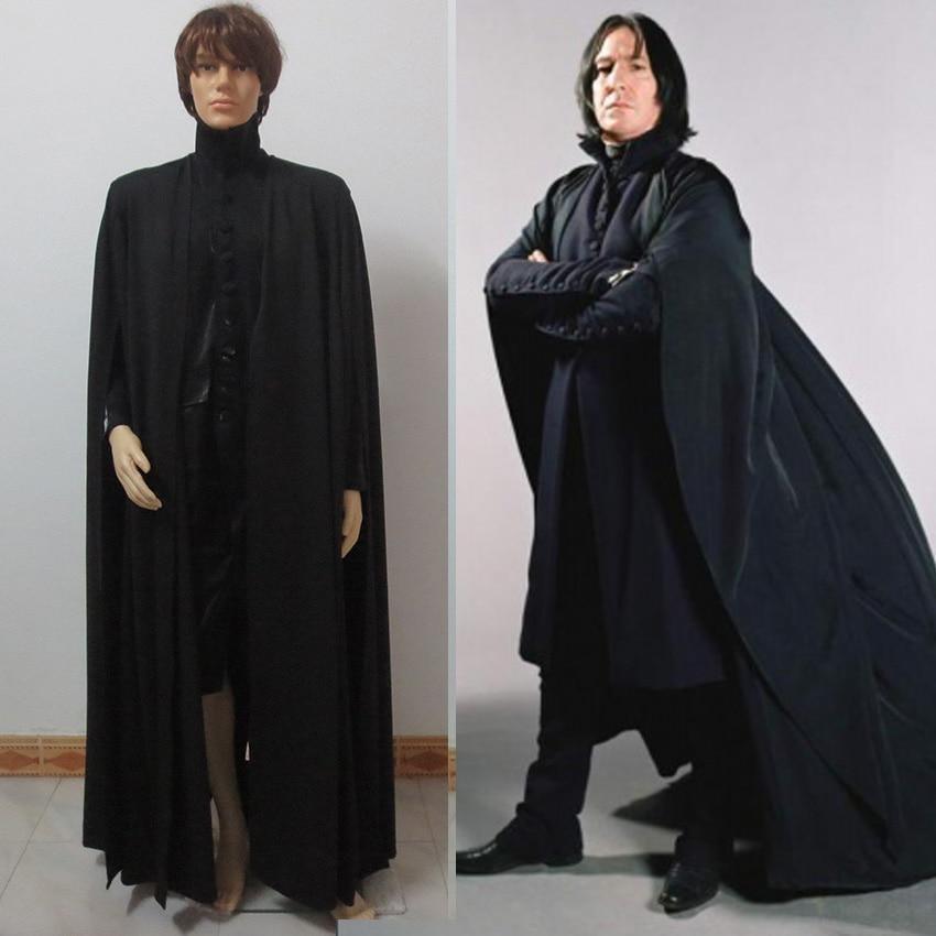 Movie Deathly Hallows Severus Snape Cosplay Costume Black Robe Halloween Uniforms