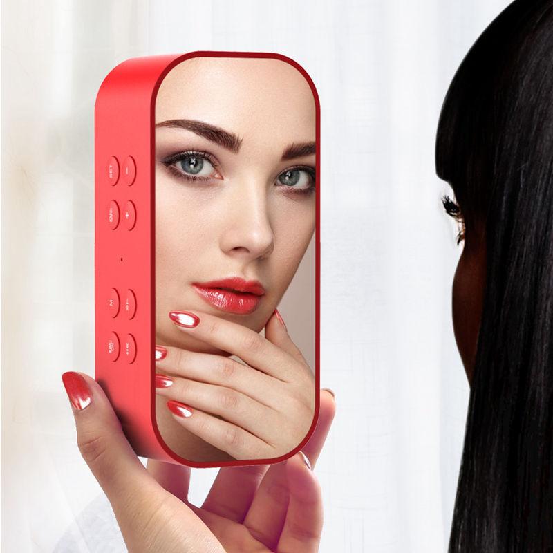 Pantalla espejo portátil inalámbrico Bluetooth altavoz columna Subwoofer música caja de sonido altavoces inalámbricos LED con reloj despertador