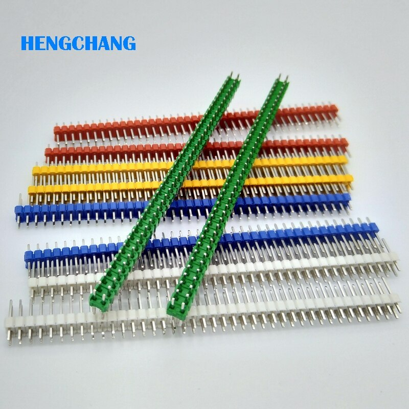 Tira de cabeceras de clavija macho 40 pines 2,54mm color doble fila recta para PCB 10 unids/lote