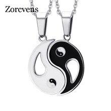 ZORCVENS pendentif breloque colliers huit schémas Yin Yang noir et blanc meilleurs amis amitié Couples amoureux cadeau saint-valentin