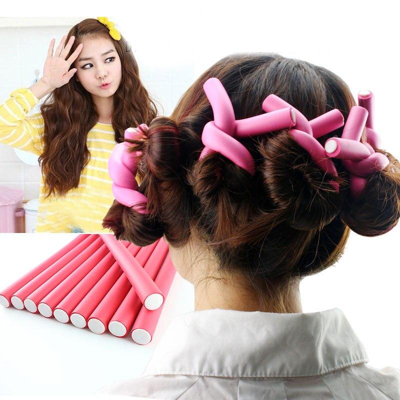 10 pçs/set macio bendy espuma rolo esponja cabelo vara espiral rolos torção & flex rods senhora diy acessório cores aleatórias