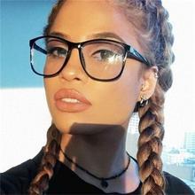 Square Female Eyeglasses Famous Brand Transparent Computer Glasses Large Frame Black Spectacles Women Nerd Myopia Clear Glasses