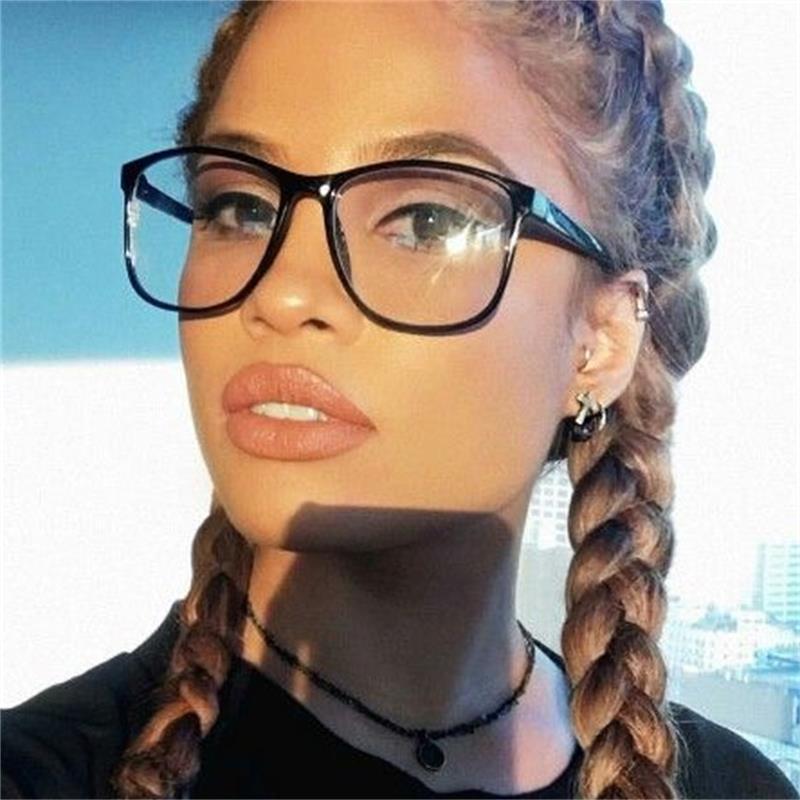 Óculos femininos quadrados famosa marca transparente óculos de computador grande quadro preto mulheres nerd miopia claro