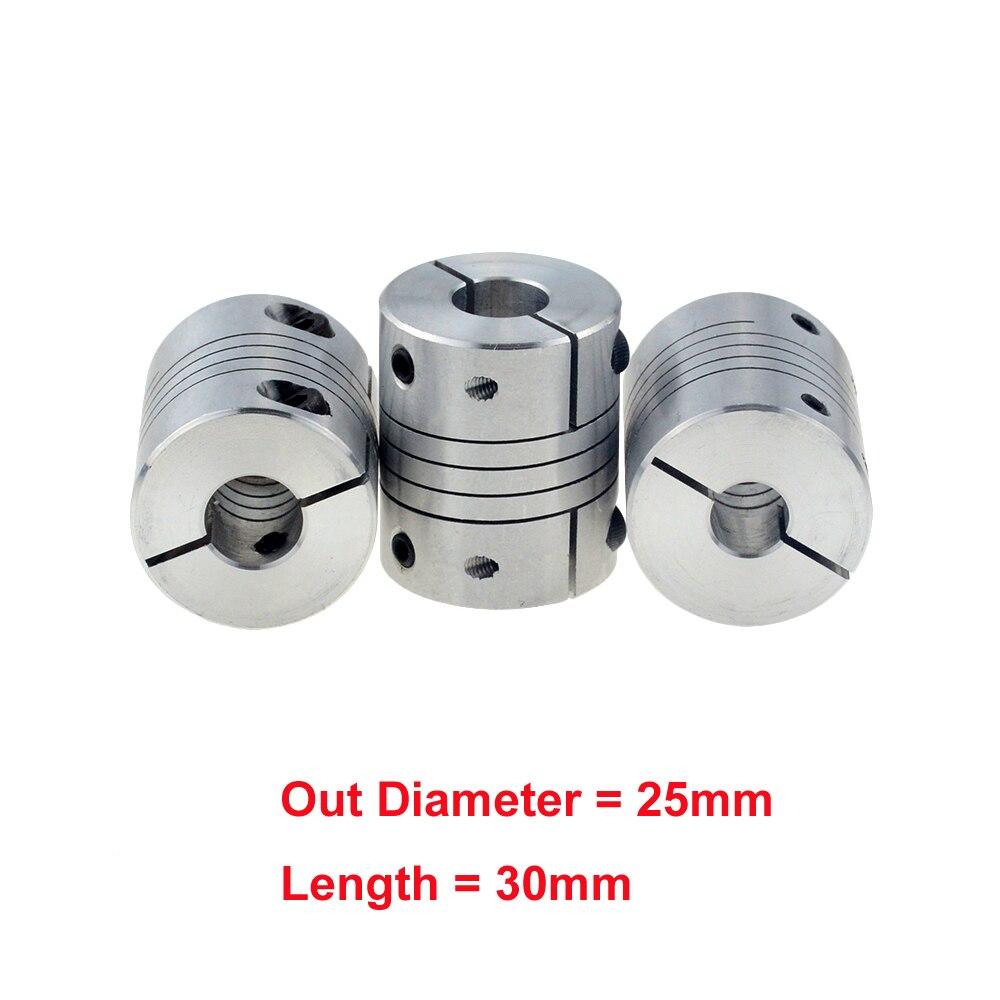 10pcs/lot D25L30 CNC Motor Jaw Shaft Coupler clamp Flexible Coupling OD 25x30mm wholesale Dropshipping 5mm 6mm 6.35mm8mm10mm12mm