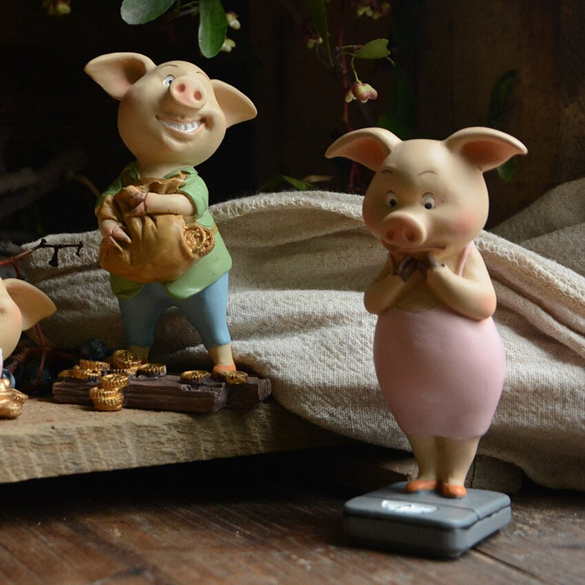 Creative Animal pig baby cute resin Crafts miniature Figurines & Miniatures DIY fairy garden accessories kawaii home decor gift
