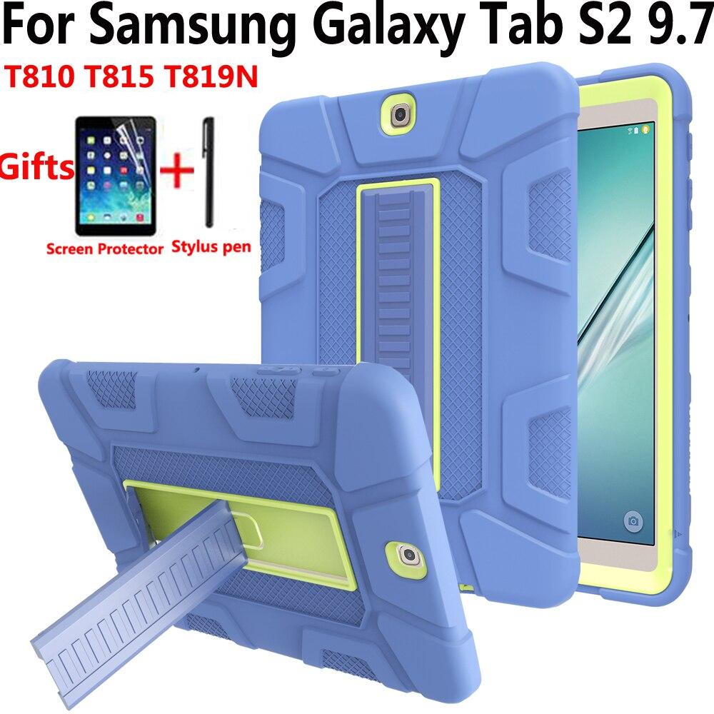 Funda para tableta funda para Samsung Galaxy Tab S2 9,7 T810 T815 T813N T819N neumático de silicona chico a prueba de golpes carcasa de piel con película