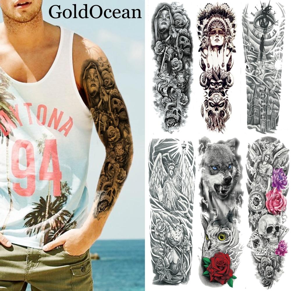 Поддельные водонепроницаемые тату-наклейки на все плечо, большие боди-арта 48x17 см, временная татуировка для мужчин и женщин, черная татуиров...
