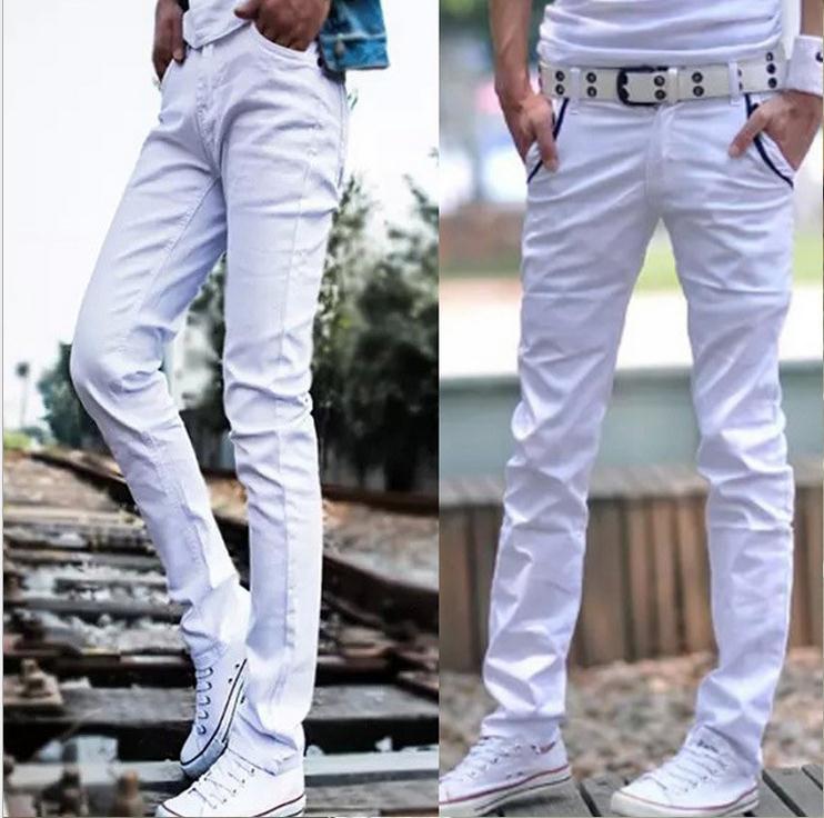Mode 2020 Männer Slim Fit Casual Weiß Stretch Dünne Beiläufige Bleistift Hosen Jugendliche Stadt Hip Hop harem Hosen Jungen Bottoms 28-33