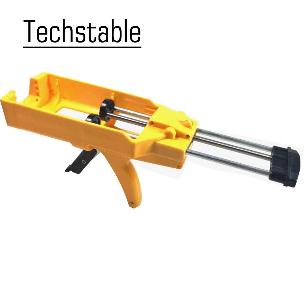 Techstable alta qualidade amarelo duplo tubo manual pistola de cola salsicha labor-saving pistola de calafetagem