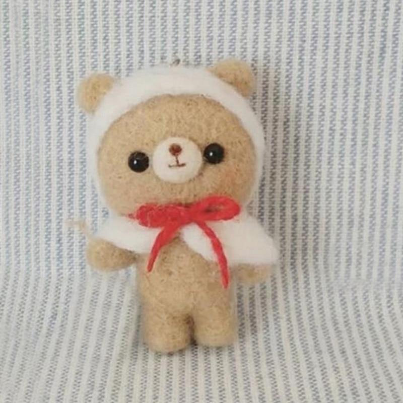 2019 caricatura suave oso marrón lana fieltro muñeca lana fieltro Poked Kitting DIY paquete sin terminar