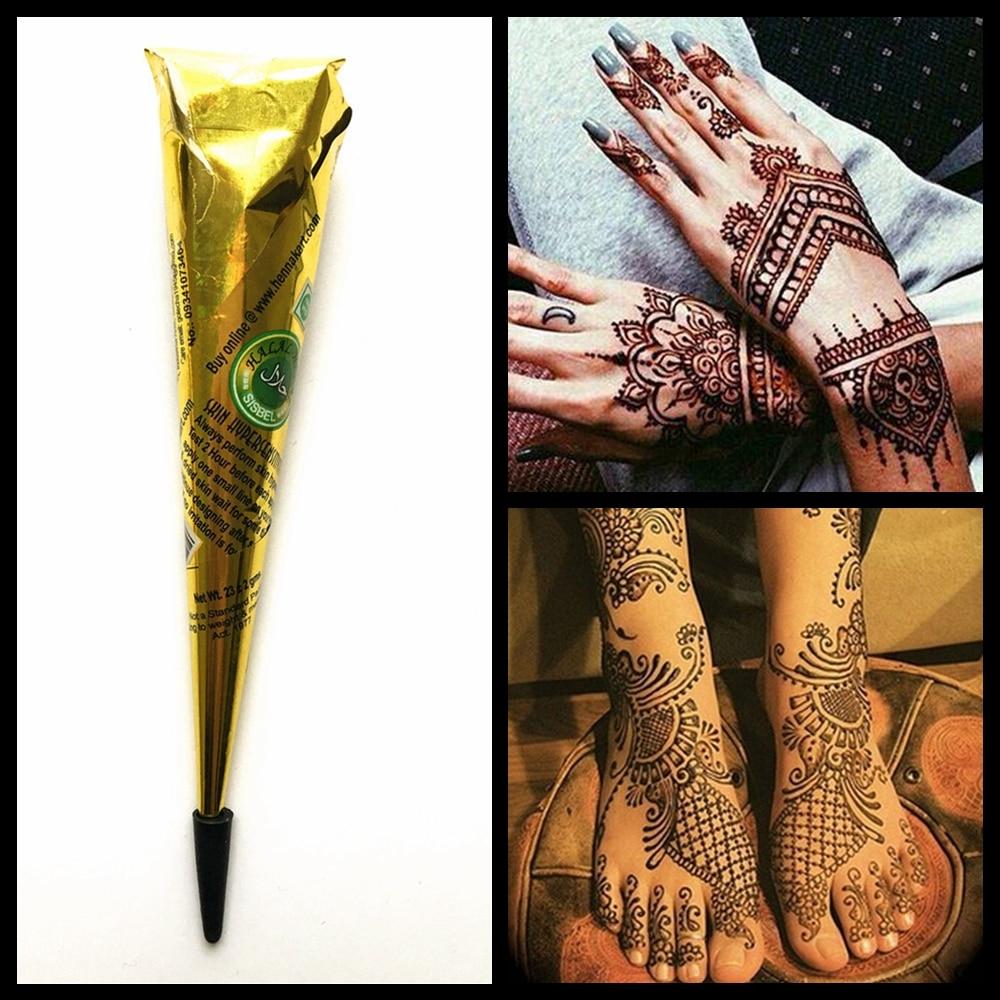 Tatuaje de Henna, pasta Mehndi, tinta Natural marrón, tinta de Color, cono de crema de Henna, pintura de arte corporal Sexy, dibujo para Plantilla de tatuaje 1 unidad