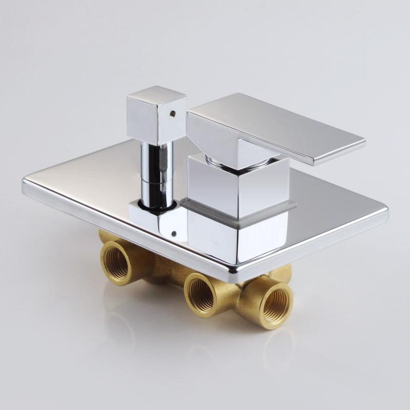 Трехфункциональный Однорычажный квадратный смеситель для душа из твердой латуни с настенным креплением регулирующий клапан и смеситель д...
