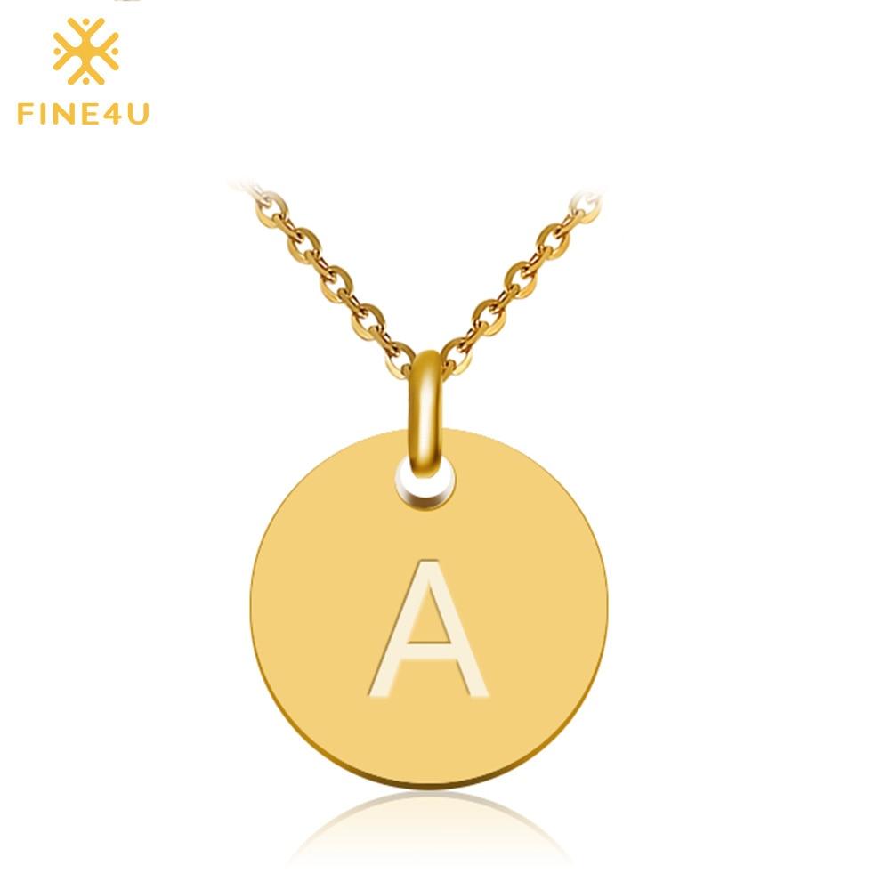 Женское ожерелье с подвеской FINE4U N027, золотое/серебряное ожерелье с надписью Alfabet из нержавеющей стали 316L