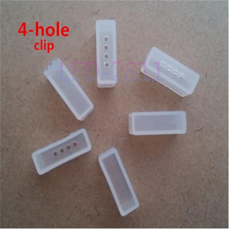 1000 Uds. clip de silicona, tapas de extremo para tubo de silicona impermeable SMD 5050 ws2801 ws2811 2812b RGB led tira de luz no 2-4 agujeros