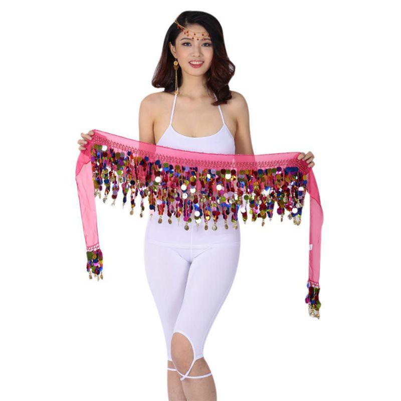 Linda danza del vientre cadera gasa falda bufanda envoltura cinturón con monedas doradas lentejuelas 10 colores accesorios de baile