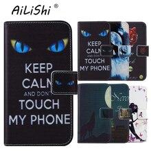 AiLiShi الوجه اللون كتاب الوقوف حماية أغطية جلد قذيفة محفظة Etui الجلد حالة ل ميديون الحياة E4507 MD 60556 4.5 بوصة