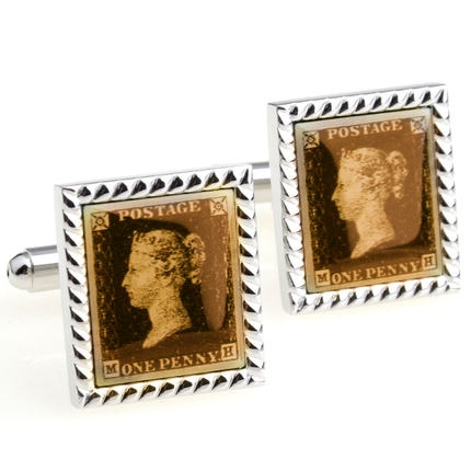 Promotion! Men Cufflinks wholesale&retail top copper Silver Colour Postage Stamp Design Cuff links F