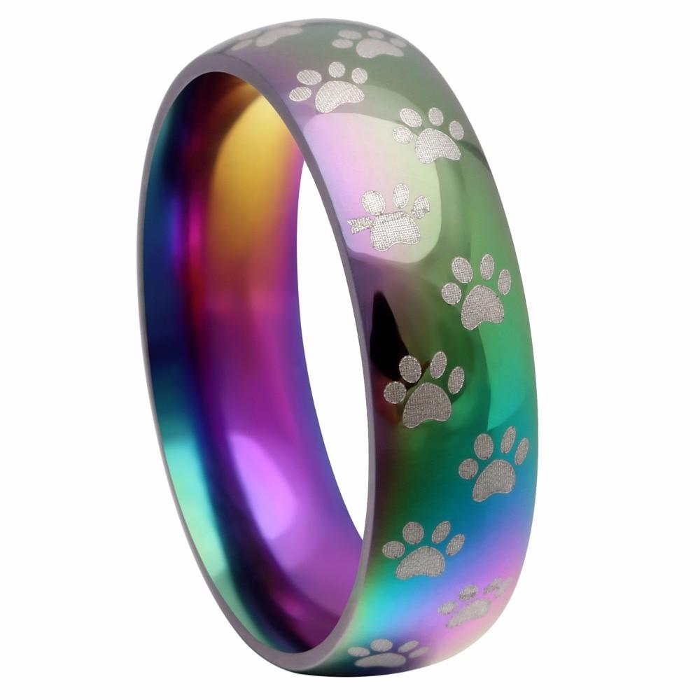 Anillo de arcoíris de acero inoxidable para mujer, huella de animal, de oso, pata de perro, nuevo modelo, gran oferta, anillo de compromiso de boda, paquete de 2 unidades