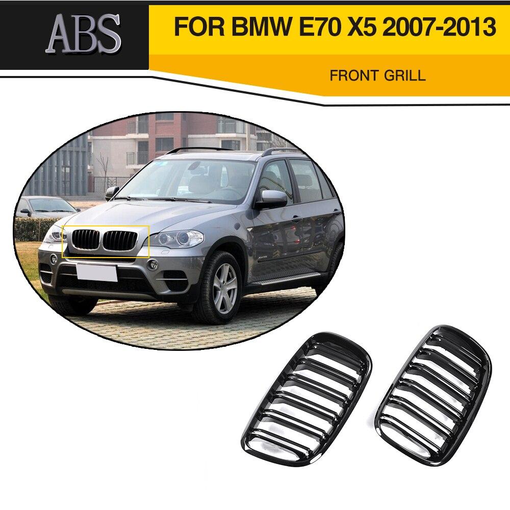 Front Grill Grills For BMW X5 X6 E70 E71 X5M X6M 2007 - 2013 Black Double Slat Kidney Grille Car Styling 2008-2014