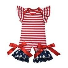 Vêtements patriotiques pour nourrissons   Vêtements pour bébés, style américain, dans le 4e juillet, robe de bébé, barboteuse, manches flottantes, ensemble pantalon