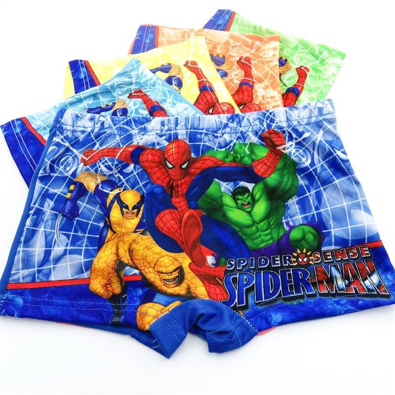 10 pçs/lote meninos boxer briefs crianças roupa interior do bebê menino cuecas dos desenhos animados spiderman macio crianças calcinha 3-11years super herói