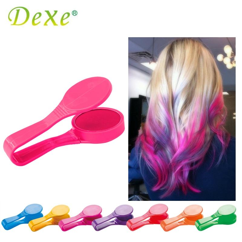 Marca Dexe, polvo de tiza temporal para el cabello, belleza, Gaga, fiesta de Halloween, maquillaje colorido, desechable, DIY, Kit de peinado de tinte para el cabello