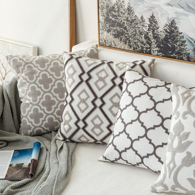 Home Decor Emboridered Cushion Cover GreyGeometric Canvas Cotton Suqare Embroidery Pillow Cover 45x45cm