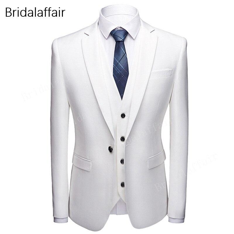 Juego de traje de boda para hombre de kusan, traje blanco marfil ajustado para hombre, traje de 3 piezas para novio, trajes de esmoquin (chaqueta + Pantalones + chaleco)