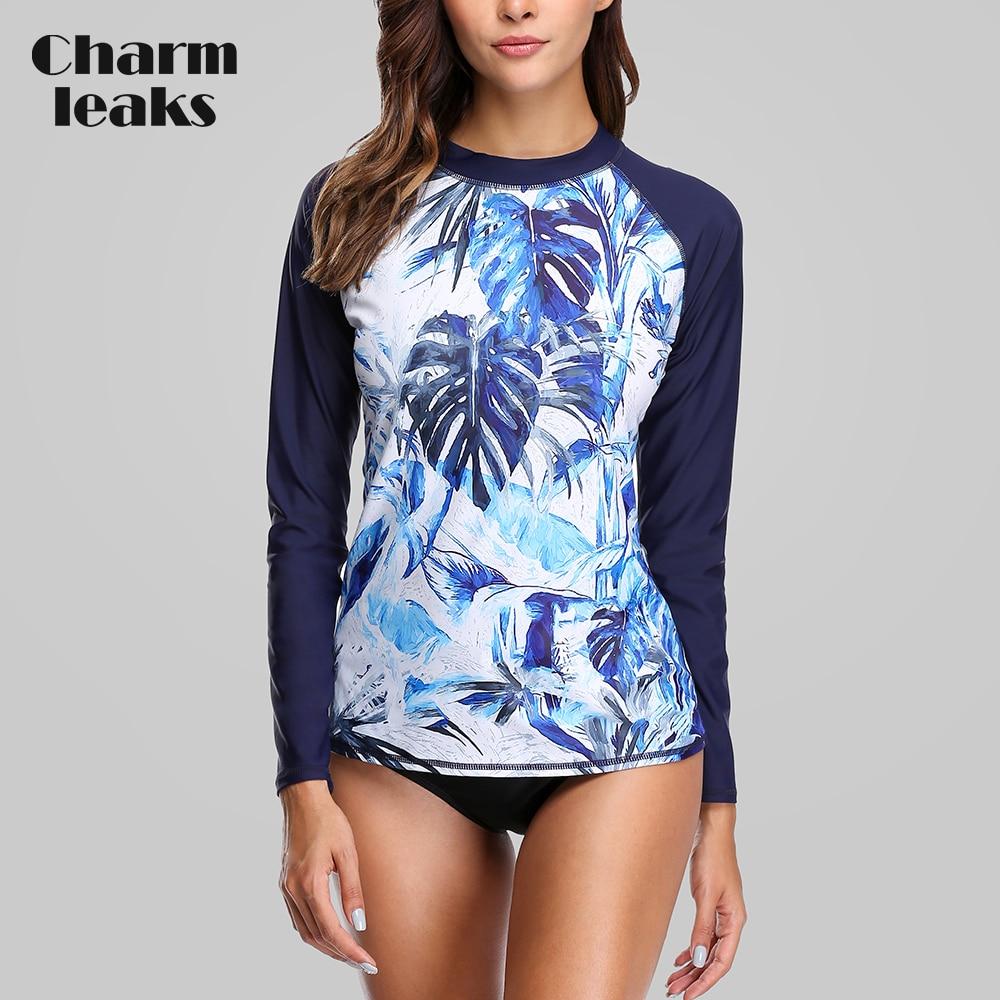Charmleaks, traje de baño de manga larga para mujer, traje de baño con estampado Floral Retro, protección contra sarpullido, UPF50 + Camisetas para correr para surfear