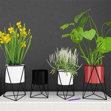 Durable Geometric Metal Flower Pot Stand Indoor Garden Plant Holder Display Planter Iron Flower Stand Desktop Gardening Decorate