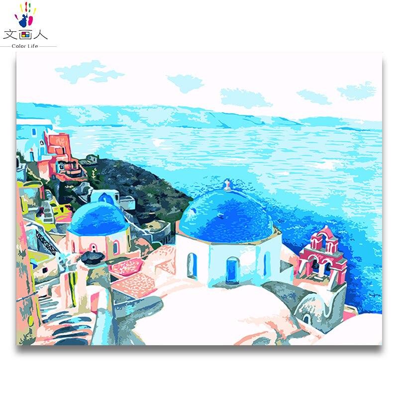 Paisaje marino edificio castillo al costado del mar cuadro pintura pinturas por números con pintura colores sobre lienzo para decoración para sala de estar