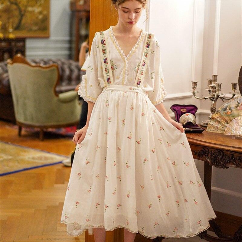Elegante Chicas Mori Vintage de primavera y verano para mujer, exquisito bordado Floral, combina con todo, informal, Liga extraíble faldas con correa