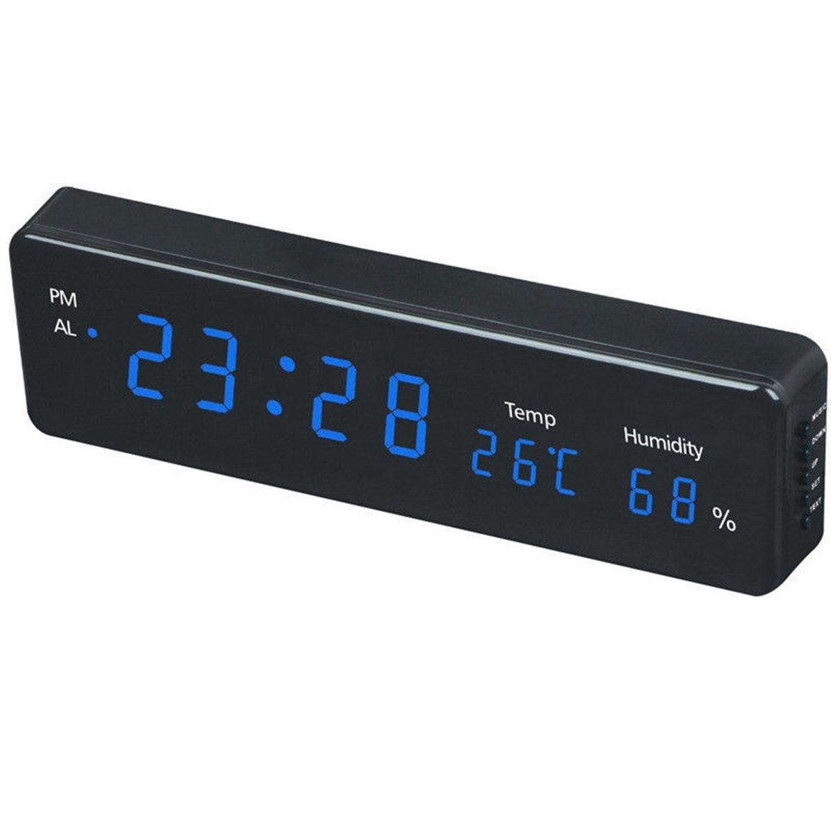 Electronic LED Wall Watch Decor EU Plug Digital Wall Clock Big LED Time Calendar Temperature Humidity Display Desk Table Clocks