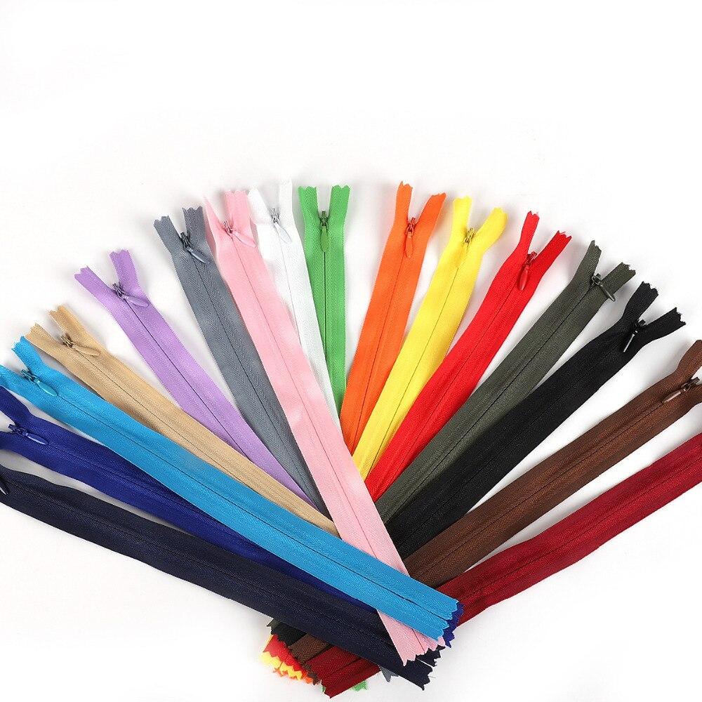 10 unids/lote 28/35/40/50/55/60cm de largo Invisible cremalleras DIY Nylon bobina cremallera para costura accesorios de ropa