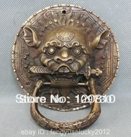 bh 0015 Fast ship Chinese Fengshui Door Copper Bronze Lion Foo Dog Mask Head Sword Statue knocker