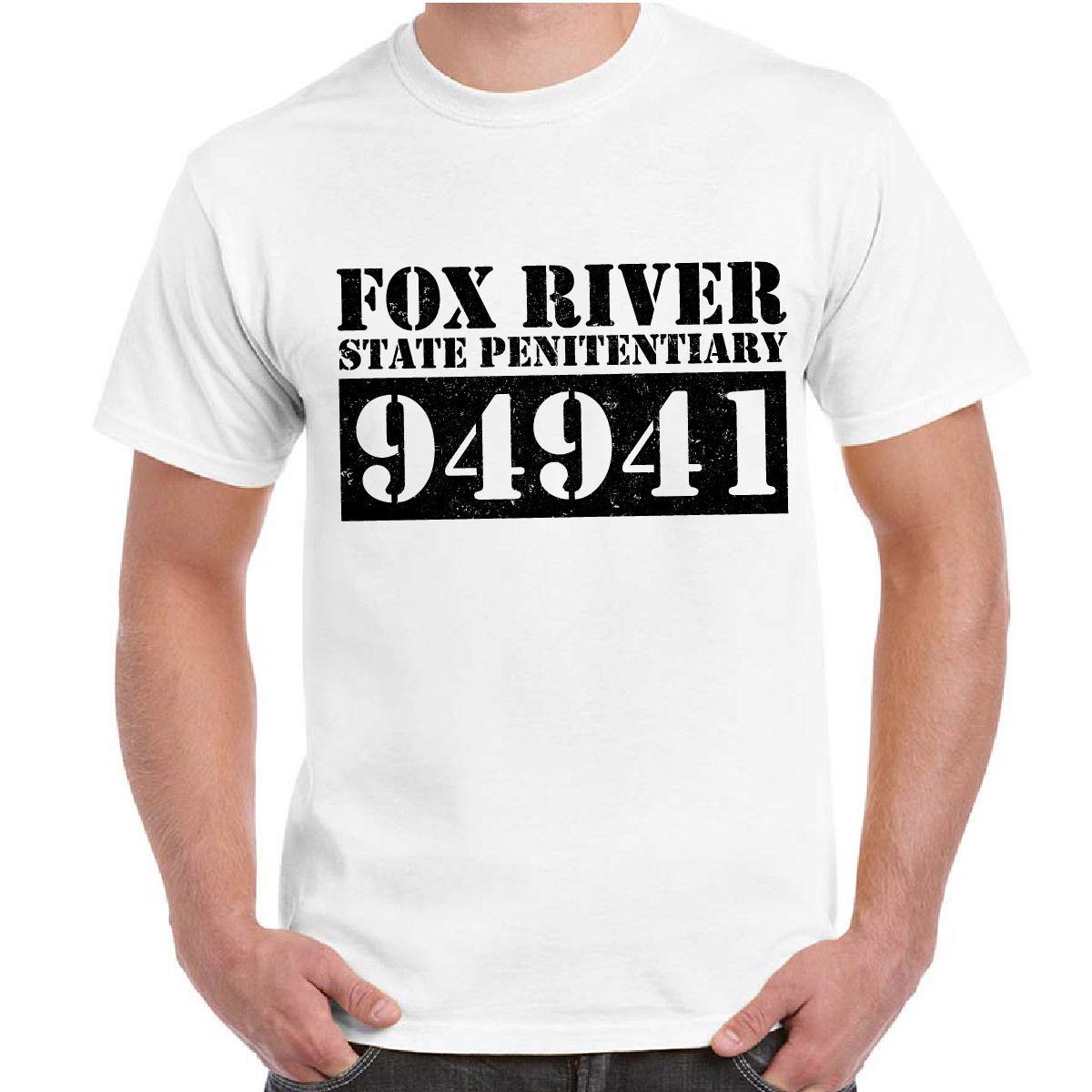 Estilo de moda Serie de TV Prison Break Maglietta Stampa Matricola Fox River, camisa de cuello redondo, camiseta de talla grande