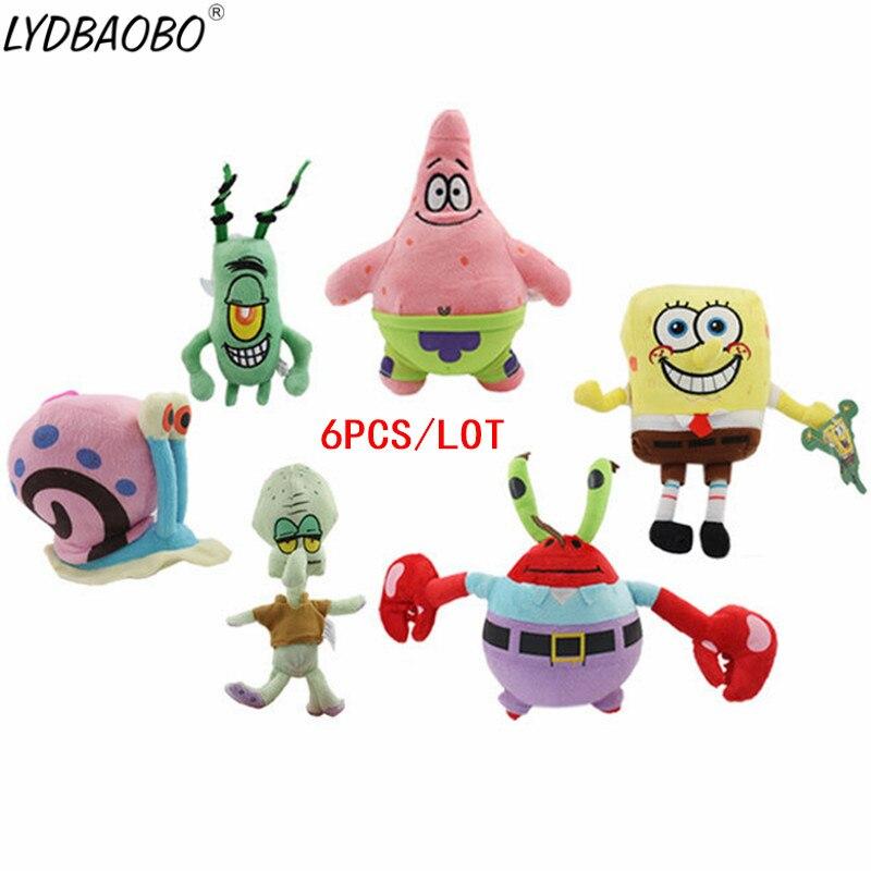 6 unids/lote Kawaii juguetes de peluche de dibujos animados Bob Esponja/Estrella Patrick/Squidward Tentacles/Eugenio/Sheldon/Gary muñecos de peluche suaves regalos para niños