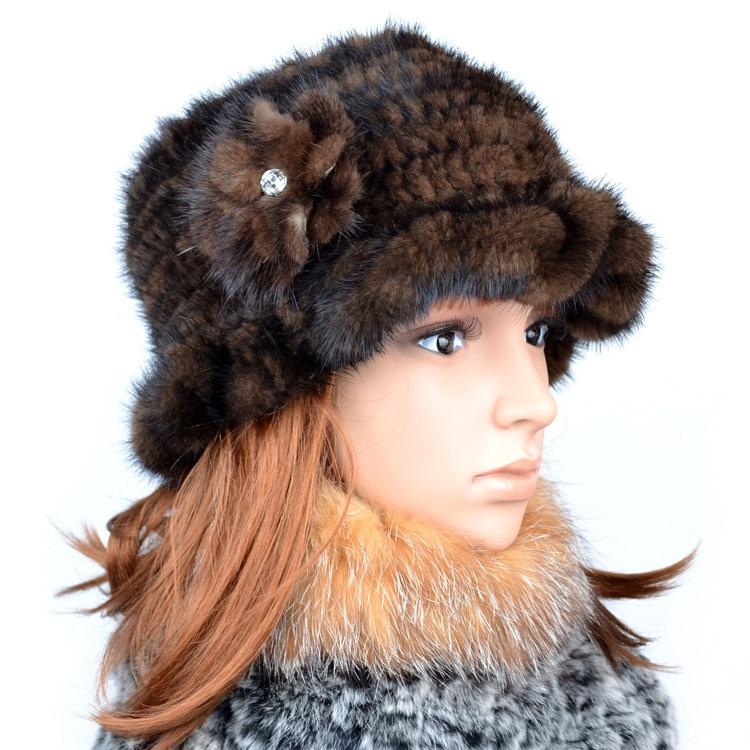 Factory wholesale Ladies' mink bucket hats thermal fur hat Popular women's flower fur cap,Free shipping FC101