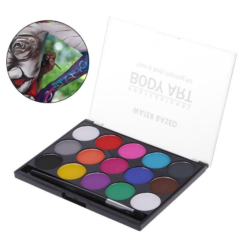 Краска для лица 15 цветов, набор для макияжа, Нетоксичная водная краска, масло с кисточкой для красивые платья для маскарада на Рождество/Хэл...